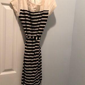 Merona beige/black striped dress with belt S/P